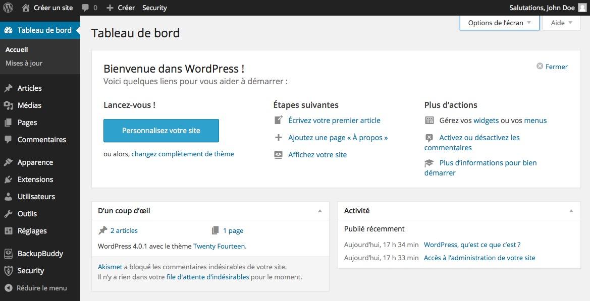 Se connecter à wordpress - Blog-one